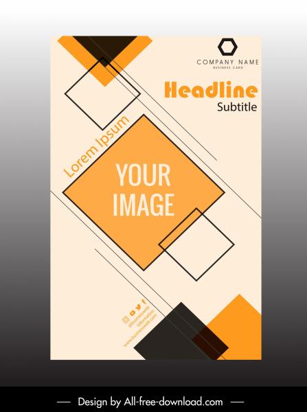 corporate brochure template flat geometric squares decor