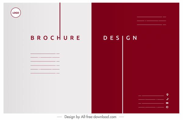 corporate brochure template flat plain white red decor