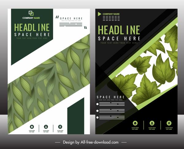 corporate brochure template green leaf decor modern design