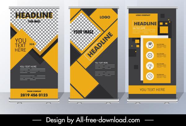corporate brochure template modern flat checkered geometric layout