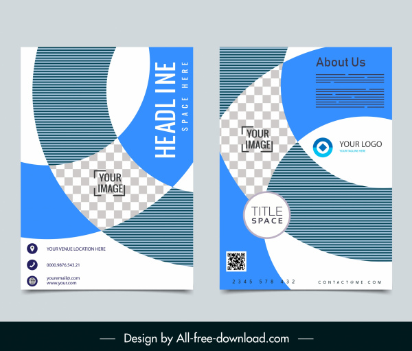 corporate brochure template modern flat checkered swirled decor