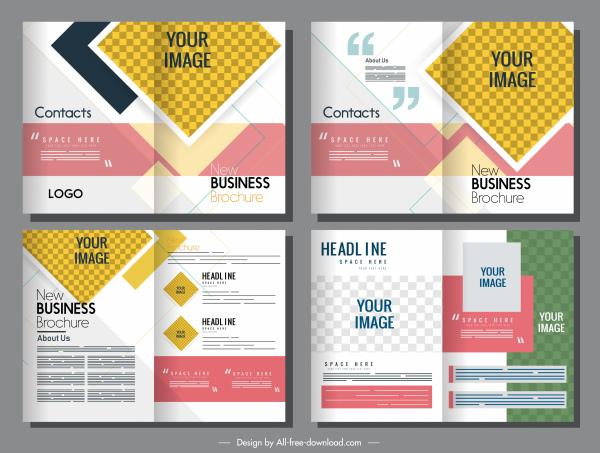 corporate brochure templates bright colorful design checkered decor
