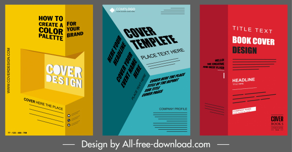 corporate brochure templates colored modern 3d effect decor