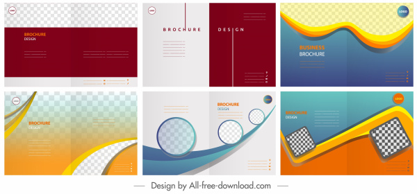 corporate brochure templates colorful modern checkered plain decor