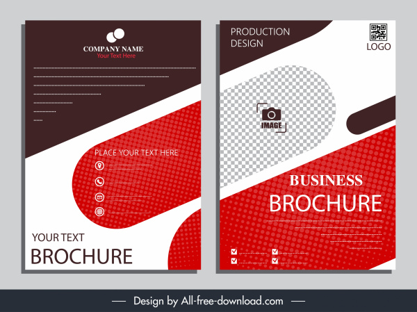 corporate brochure templates contrast flat checkered shapes