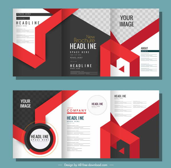 corporate brochure templates modern abstract decor trifold shape