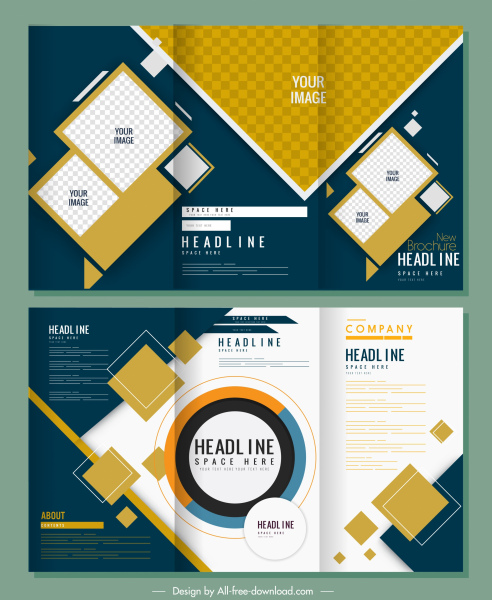 corporate brochure templates modern trifold design abstract decor