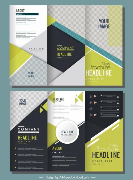 corporate brochure templates trifold shape modern elegant checkered