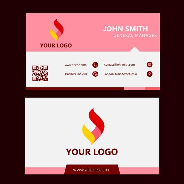 Corporate business card design logotype in pink white free vector in corporate business card design logotype in pink white reheart Gallery