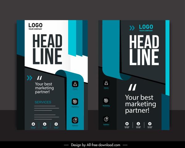 corporate flyer cover template dark elegant 3d technology
