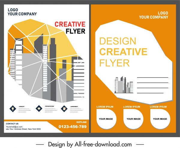 corporate flyer template buildings decor geometric sketch