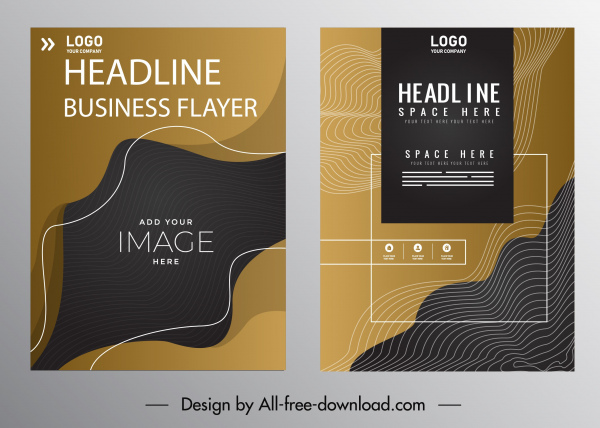 corporate flyer template dark modern abstract curves decor