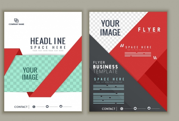 Corporate Flyer Template Modern Checkered Decor Free Vector In Adobe
