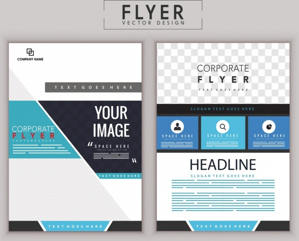 Corporate Flyer Template Modern Flat Decoration Free Vector In Adobe