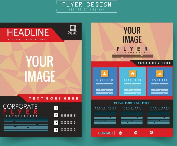 corporate flyer template modern polygonal decor free vector in adobe