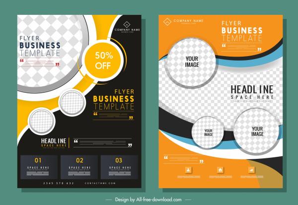 corporate flyer templates checkered decor elegant contemporary