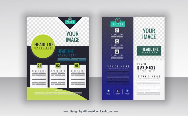 corporate flyer templates checkered decor modern contrast