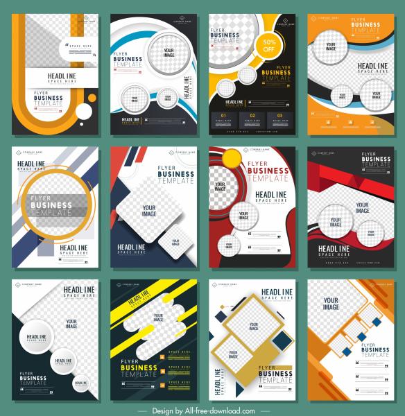 corporate flyer templates collection colorful contemporary decor vertical design