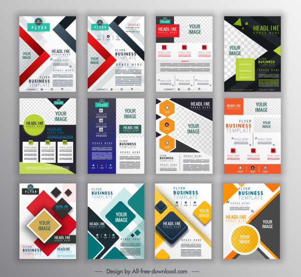 corporate flyer templates collection colorful modern geometric decor