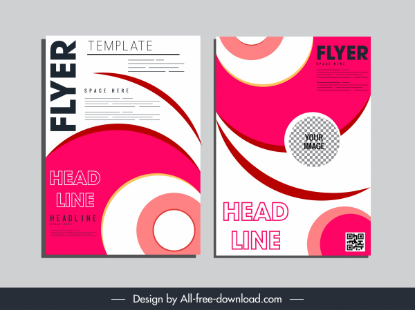 corporate flyer templates colorful flat dynamic twisted shapes