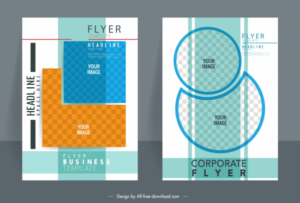 corporate flyer templates colorful flat geometric checkered decor