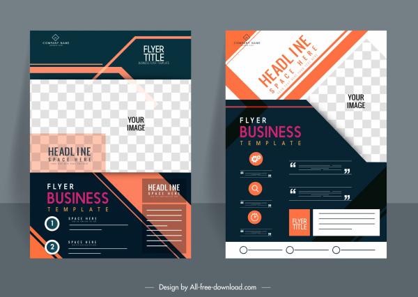 corporate flyer templates colorful modern design checkered decor