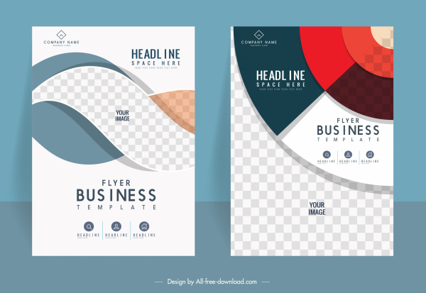 corporate flyer templates colorful modern elegant checkered design