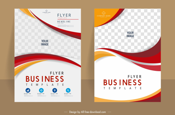 corporate flyer templates elegant colorful checkered curves decor