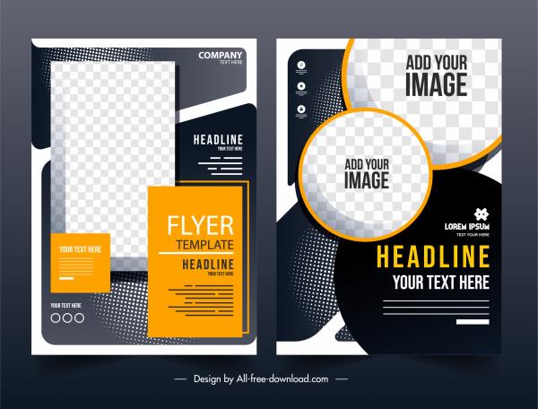 corporate flyer templates elegant contrast design checkered geometry