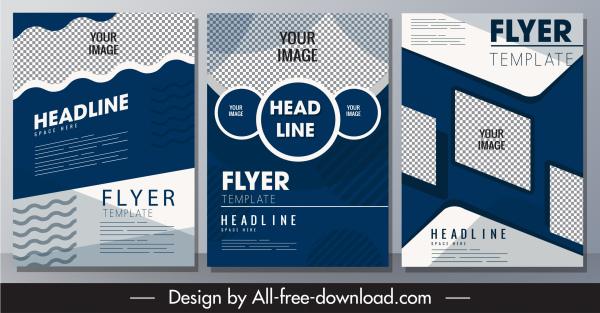 corporate flyer templates elegant dark checkered geometric shapes