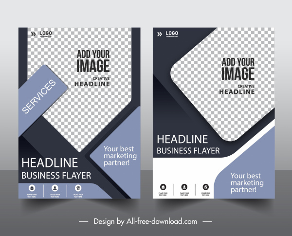 corporate flyer templates elegant modern checkered geometric shapes