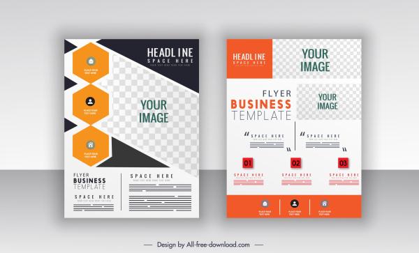 corporate flyer templates flat checkered decor bright modern