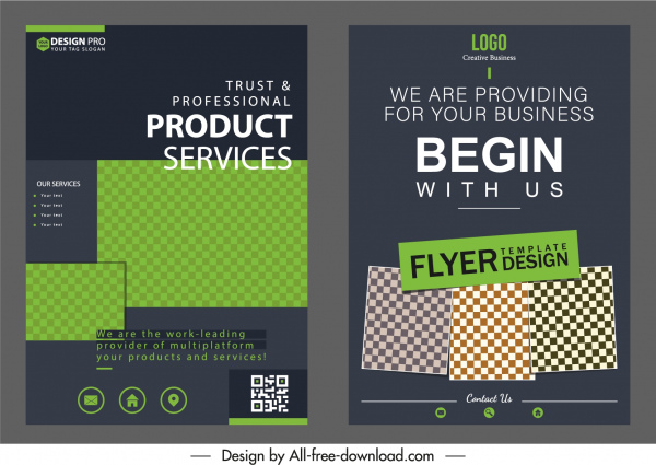 corporate flyer templates modern dark elegance checkered decor