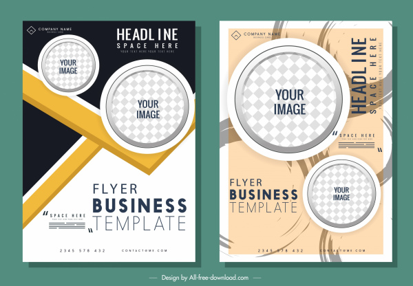 corporate flyer templates modern design checkered circles decor