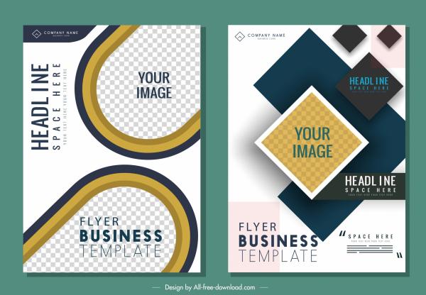 corporate flyer templates modern flat checkered decor