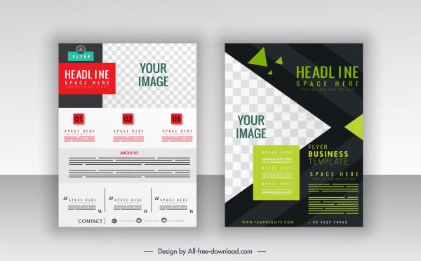 corporate flyer templates modern geometric checkered decor
