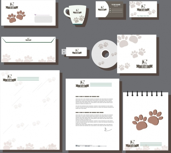 corporate identity collection pet footprints ornament