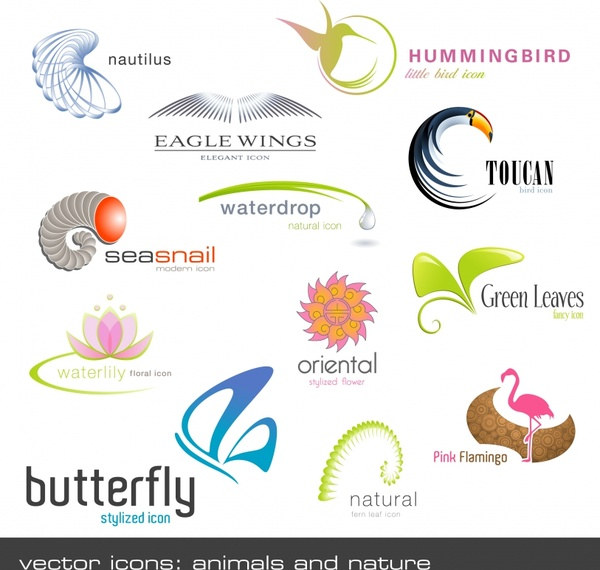 logo templates droplet bird worm butterfly flower icons