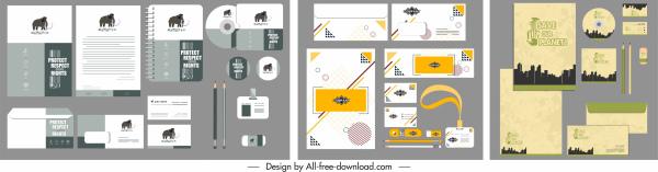 corporate identity sets colored modern flat decor