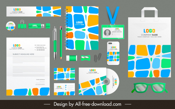 corporate identity templates colorful modern abstract decor
