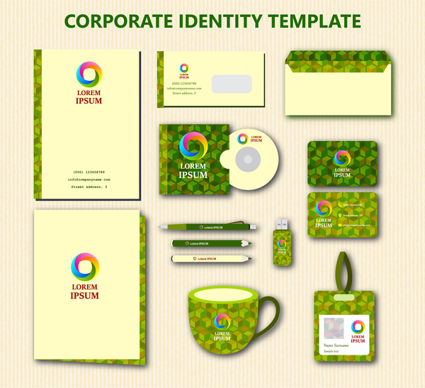 corporate identity templates with green bokeh background