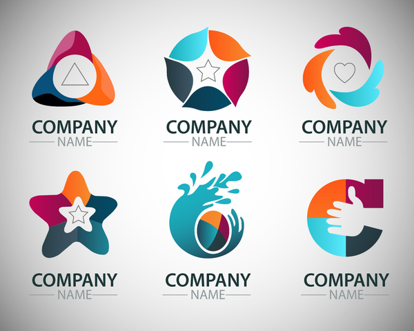 corporate logo sets with artistic shapes illustration