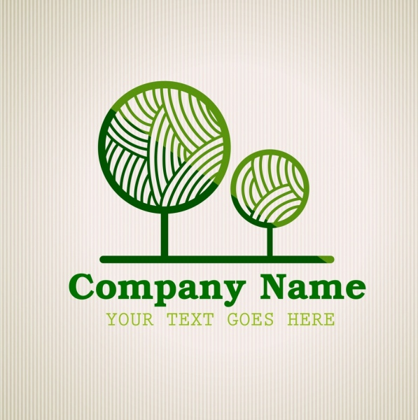 corporate logotype green tree icon circle curves decor