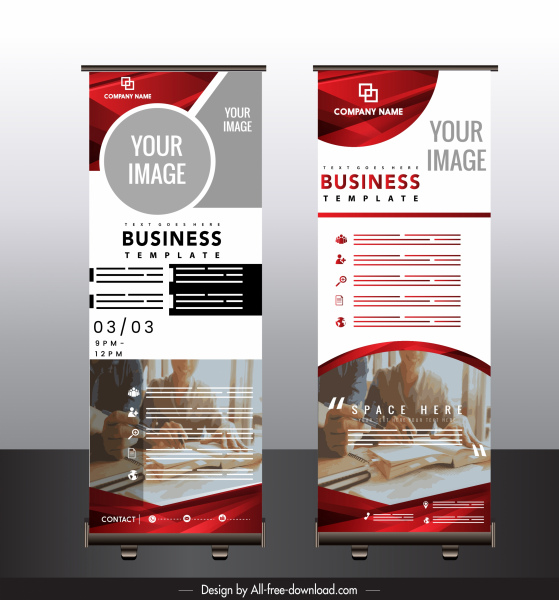 corporate poster template modern colorful decor standee vertical