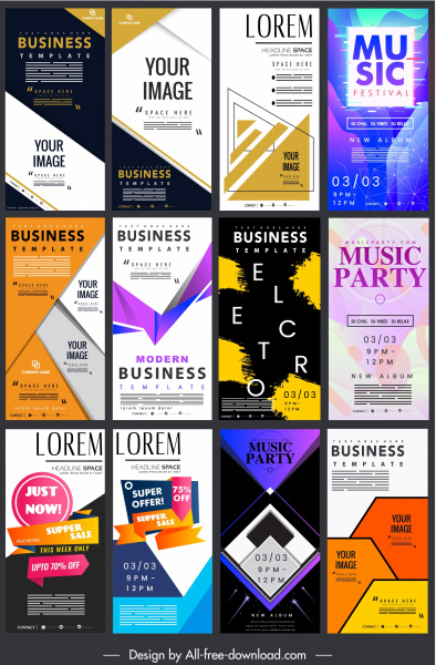 corporate poster templates collection modern colorful abstract decor