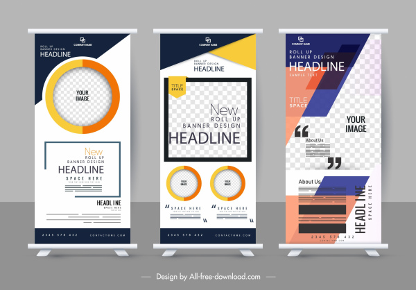 corporate poster templates modern vertical roll up shape