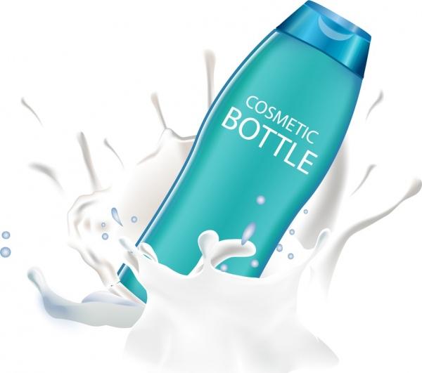 cosmetic advertisement splashing milk realistic bottle icon