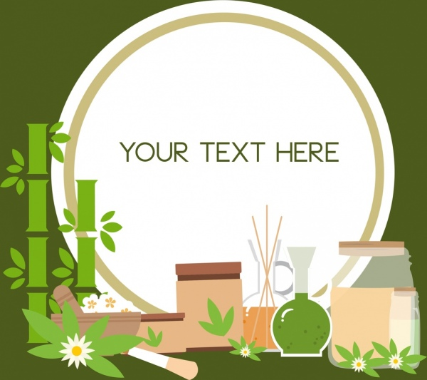 cosmetic advertising background natural herb icons ornament
