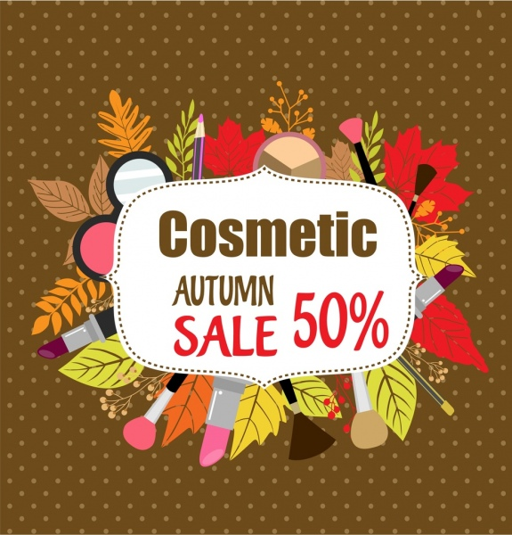 cosmetic sales banner colorful leaves makeup accessories ornament