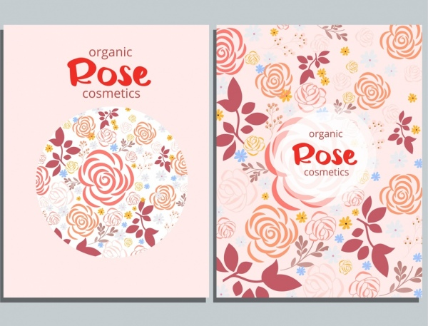 cosmetics advertising background roses icon decor circle layout